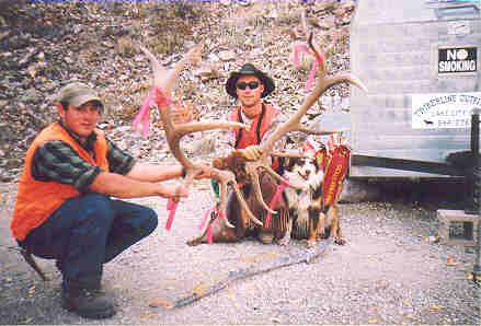 Trophy 334 B&C bull elk, with packers Matt and William, taken in 2004 rifle season drop camp